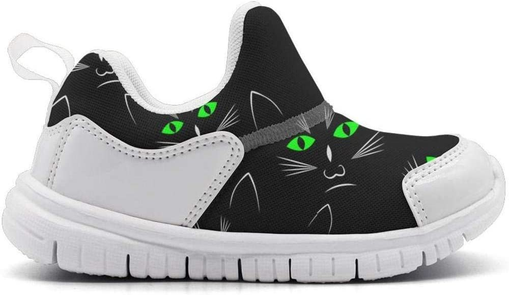 ONEYUAN Children Black Cats Heads Image Kid Casual Lightweight Sport Shoes Sneakers Walking Athletic Shoes