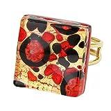GlassOfVenice Murano Glass Venetian Reflections Square Adjustable Ring - Black Red