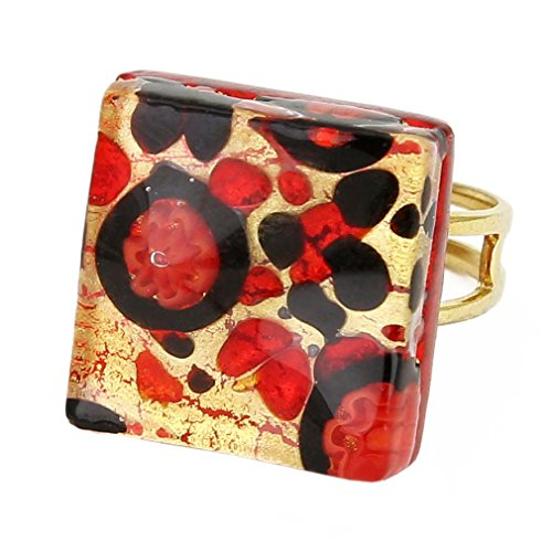 Murano Venetian Ring (GlassOfVenice Murano Glass Venetian Reflections Square Adjustable Ring - Black Red)