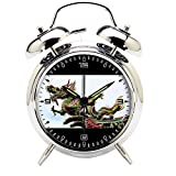 Children's Room Silver Dinosaur Silent Alarm Clock Twin Bell Mute Alarm Clock Quartz Analog Retro Bedside and Desk Clock with Nightlight-440.541_Animal Long Temple Dragon Culture Dinosaur