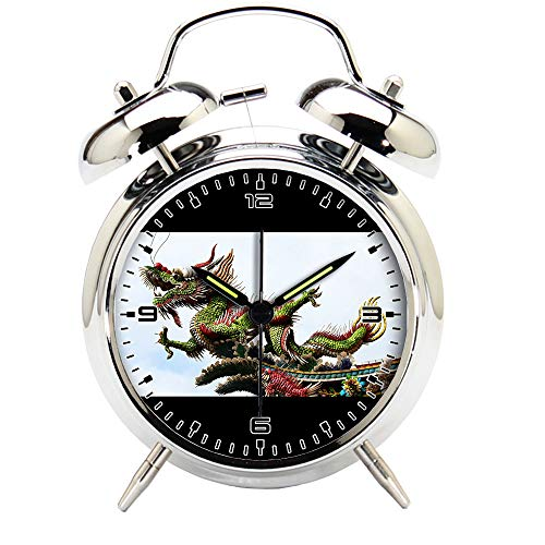 Children's Room Silver Dinosaur Silent Alarm Clock Twin Bell Mute Alarm Clock Quartz Analog Retro Bedside and Desk Clock with Nightlight-440.541_Animal Long Temple Dragon Culture Dinosaur by girlsight