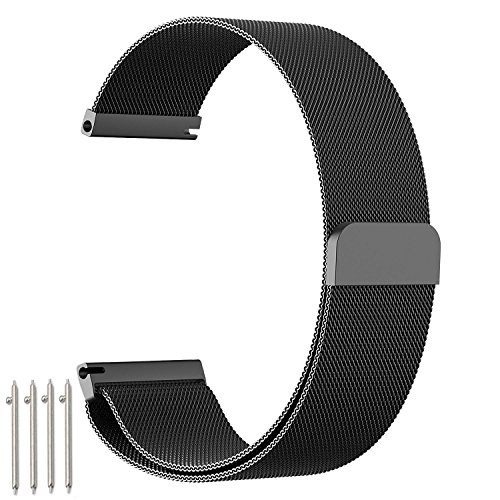 18mm 20mm 22mm Watch Band, amBand Fully Magnetic Closure Clasp Mesh Loop Milanese Stainless Steel Metal Replacement Band Bracelet Strap for Men's Women's Watch Black, Silver
