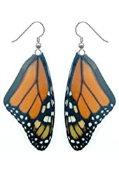 Real Butterfly Wing Earrings - Monarch Butterfly - Drop, Dangle, Natural, Unique, Handmade Jewelry