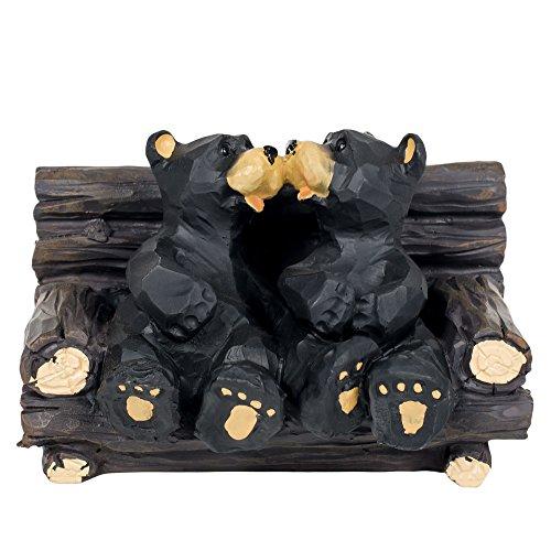 Kissing Bears in Log Chair Resin Tabletop Figurine