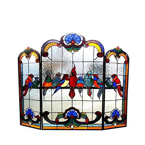 Fireplace Glass Stained - Chloe Lighting Glass Gathering Birds Design 3pcs Folding Fireplace 40