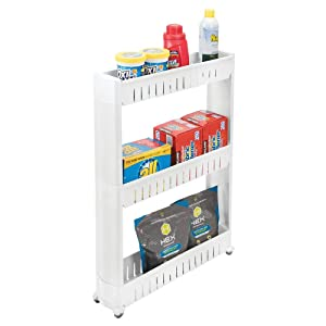mDesign Portable Slim Plastic Rolling Laundry Utility Cart Organizer Trolley - Easy-Glide Wheels and 3 Heavy-Duty Shelves, for Laundry, Utility Room, Kitchen or Pantry Storage - White