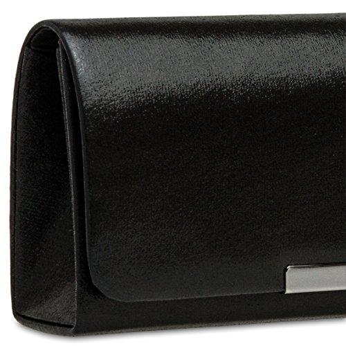 Elegante Clutch Largo para de Mano de Bolso Mujer TA346 Fiesta Negro Satén CASPAR pxzq81gn