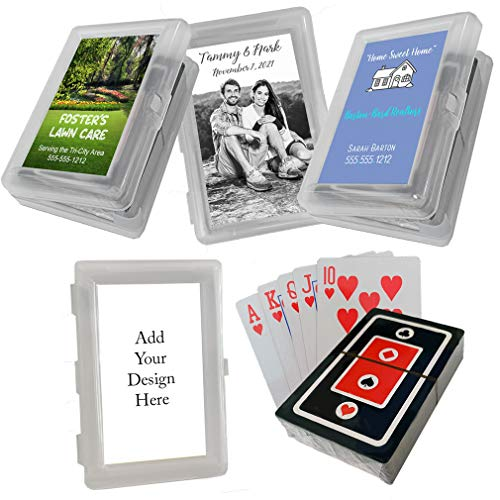 (Custom Personalized Promotional Giveaway Items or Wedding Bridal Birthday Party Favors, Your Design Photo or Logo, Deck of Playing Cards, Set of 60)