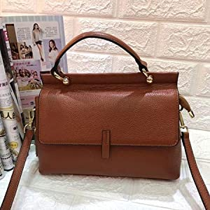 Generic SC Fashion Brand Women Luxury Genuine Leather Handbag Flap Top-handle Bags Female Shoulder&Crossbody Bags Ladies Satchels Bag Color BROWN