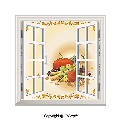 (SCOXIXI Artificial Window Wall Applique Landscape Wall Decoration,Maple Tree Frame with Rustic Composition for Thanksgiving Halloween Dinner Food,Window Decorative Decals Interior(26.65x20)