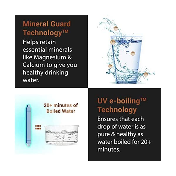 Eureka forbes Aquaguard Aura 7L Ro+Uv E-Boiling + Mtds Water Purifier with Active Copper and Mineral Guard Technology ,8… 2021 June 8 Stages of purification with high water storage capacity of 7 litres Active Copper Technology provides goodness of copper in water RO technology removes TDS, hardness, pesticides & heavy metals & also eliminates harmful bacteria, viruses, protozoa & cysts