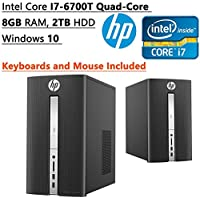 HP Flagship High Performance Pavilion Desktop PC, Intel Core i7-6700T 2.80 GHz Quad-Core, 8GB RAM, 2TB HDD, DVD/CD RW, Bluetooth, WIFI, Windows 10, Keyboards and Mouse Included