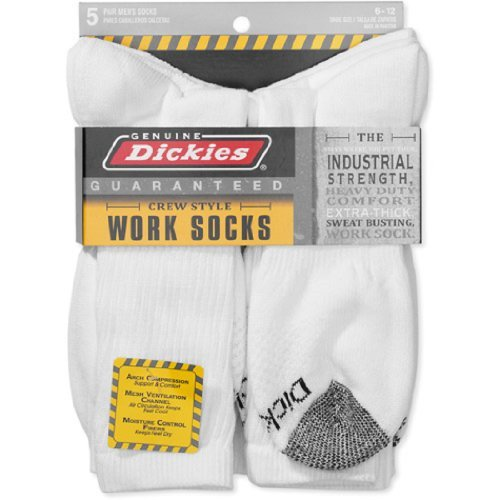 Dickies Mens 5-Pair Crew Work Socks - Solid White w/ Grey Toe (6-12)