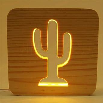 Sur Veilleuse Solide 3d Led Gravure Creux Lumière Chaude Bois Cactus UqzSVpMG