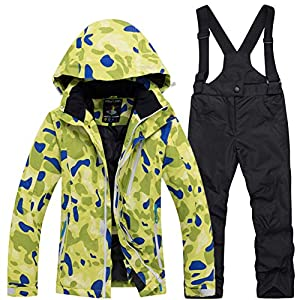 Kids Ski Suits Waterproof Snowsuit Set,Outdoor Ski Bib Suit Jacket Winter Children's Ski Wear Set Warm Cotton Snowear…