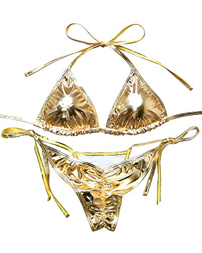 OMKAGI Ladies' New Liquid String Bikini Metallic Thong Bathing Suit 2 Pieces Swimsuit (L, Gold)