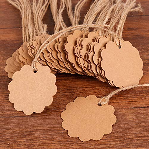 Coogam 50 Pack Brown Kraft Paper Gift Tags with Twine String Attached Tie on - Round Designs for DIY Holiday Christmas Present Wrap Stamp Label Package Name Thank You Blank Card Merchandise Tags]()