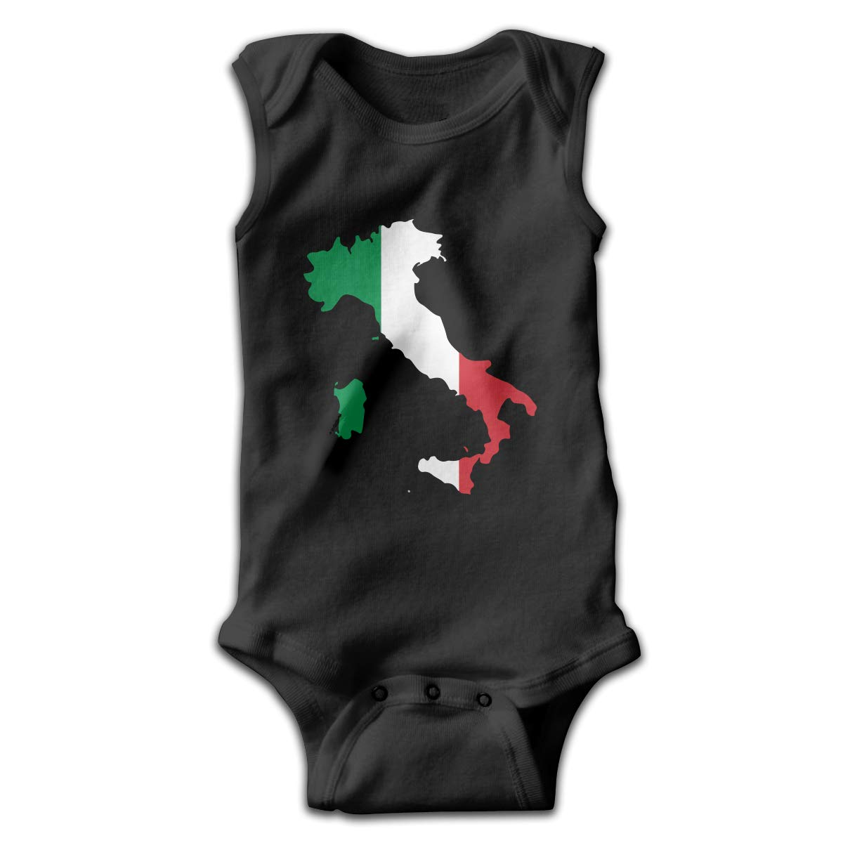 LJDF71@W Newborn Infant Babys Italia Italy Italian Map Sleeveless Crawling Jumpsuit Rompers Black