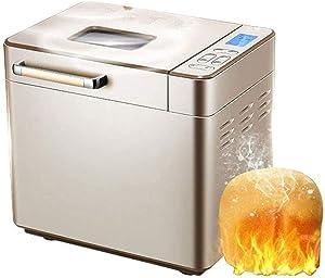 YANG Automatic Programmable Bread Machine,Home DIY Bread Machine Automatic Dough Kneading Machine Multi-Function Intelligent Bread Roaster Golden 31.3x22.3x29.8cm(12x9x12inch