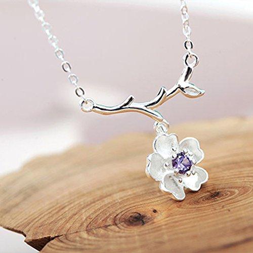 Iumer Minimalist Women Alloy Cherry Flowers Branch Chain Choker Necklace