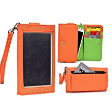 Cooper Cases(TM) Expose Women's Clutch Huawei Ascend Y300 / Y300II / Y320 / Y330 / Y360 Smartphone Wallet Case in Orange / Lime (Universal Design, Screen Shield, Credit Card/ID Slots, Zipper Pocket)