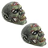 Lost Zombie Head Garden Statue: Set of Two – Zombie Decorations  – Halloween Decoration