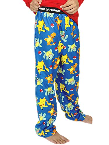 Pokemon Boy's Flannel Pajama Pants (Large / 10-12, Blue) -