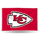 Rico NFL Kansas City Chiefs 3-Foot by 5-Foot Single Sided Banner Flag with Grommets