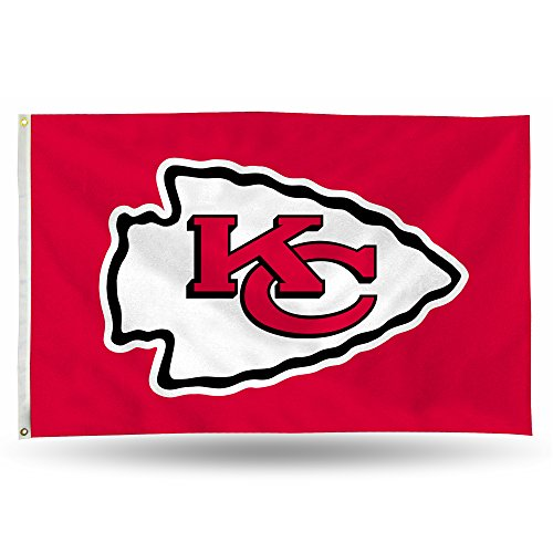 (Rico NFL Kansas City Chiefs 3-Foot by 5-Foot Single Sided Banner Flag with Grommets)