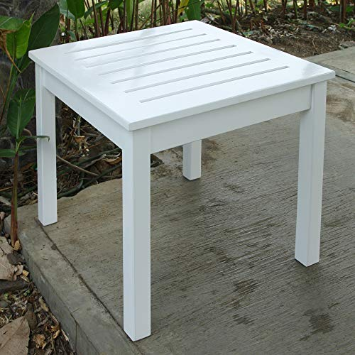 Cambridge-Casual AMZ-180100W Bentley, Square Side Table, White (White Table Side Outdoor)