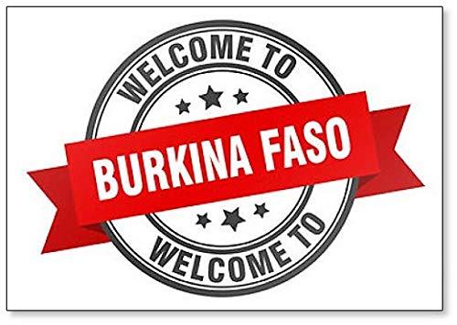 Burkina Faso Stamp. Welcome to Burkina Faso Red Sign Fridge Magnet