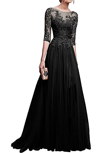 Cloverdresses Womens Elegant Scoop Prom Dresses 3/4 Sleeve Tulle Wedding Gown Cocktail Dress Long