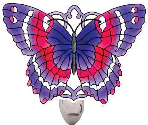 Violet & Magenta Butterfly Painted Glass Nightlight by Joan Baker