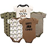 Luvable Friends Unisex Baby Cotton Bodysuits, Happy Camper Short Sleeve 5 Pack, 6-9 Months (9M)