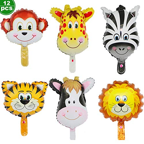 12 PCS Huge Animal Head Balloon, can Float Huge Animal Balloons for Jungle Expedition Birthday Party Animals Theme Decorations