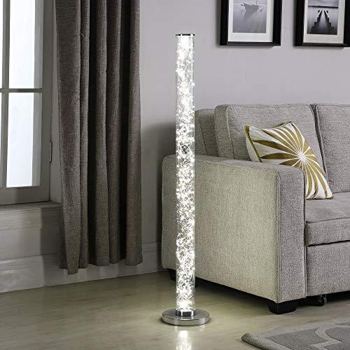 MISC Led Column Floor Lamp Crystal, White Reading Light with Rope Chrome Standing Lamp Acrylic for Bedroom Living Room ()