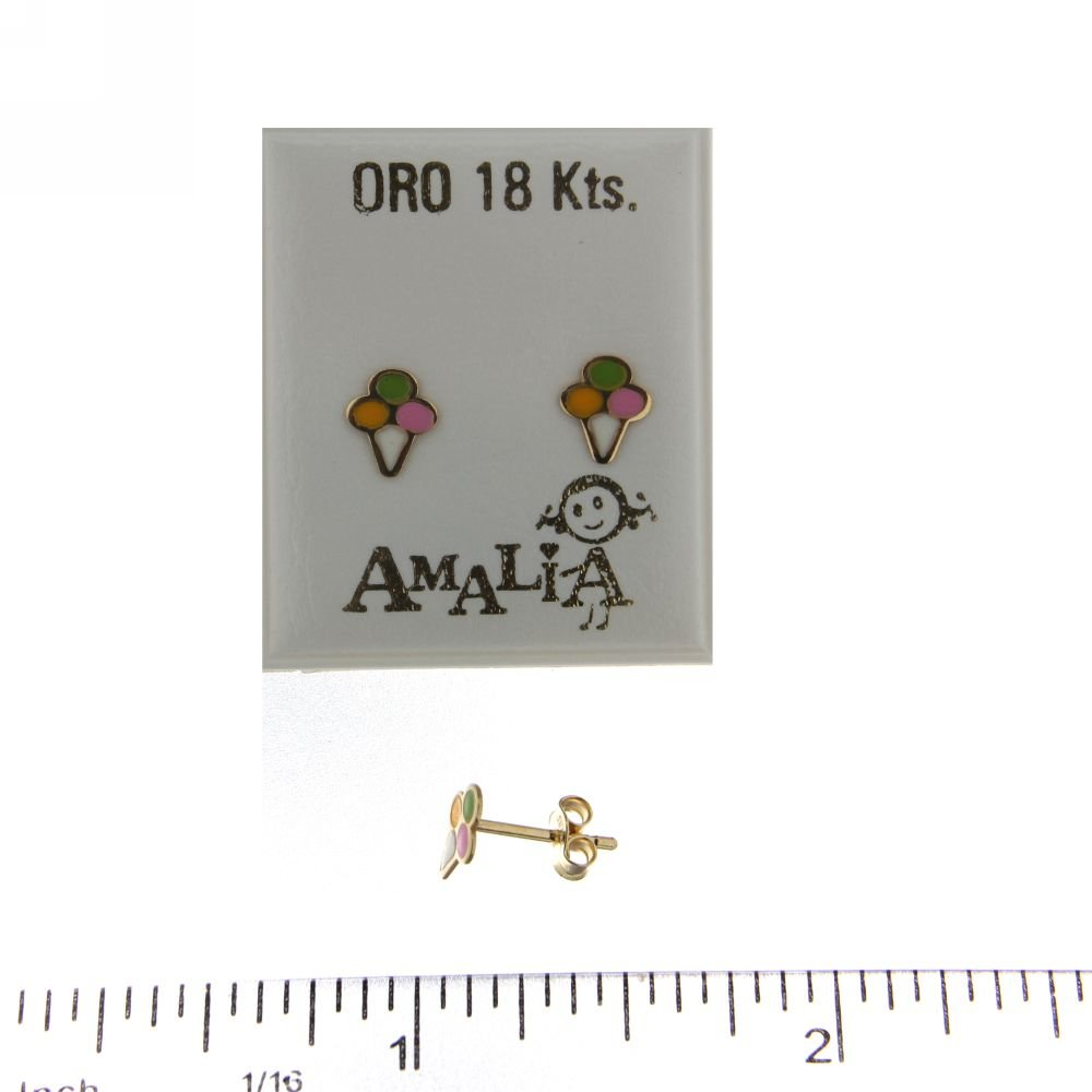 18KT Yellow Gold Enamel Ice Cream Cone Post Earrings 6mm