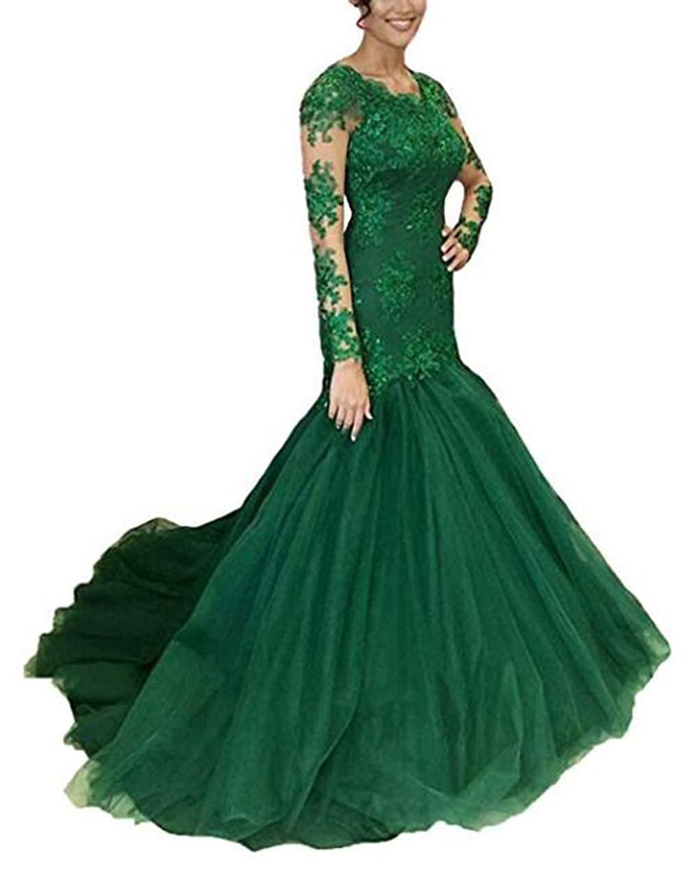 Dark Green alilith.Z Sexy V Neck Prom Dresses Mermaid Appliques Lace Long Sleeve Formal Party Ball Gowns Evening Dresses for Women