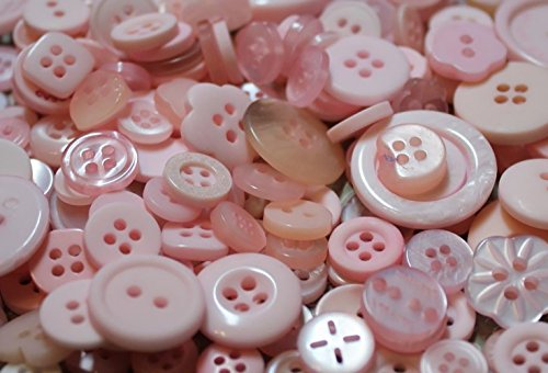 """Fancy & Decorative {Assorted Sizes w/ 1, 2, 4 Holes} 100 Pack of """"Flat & Shank"""" Sewing & Craft Buttons Made of Acrylic Resin w/ Basic Sweet Pastel Celebratory New -"""