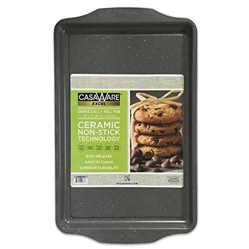 casaWare Excel Cookie/Jelly Roll 10 x 15-Inch Pan Ceramic Coated NonStick (Silver Granite) ()