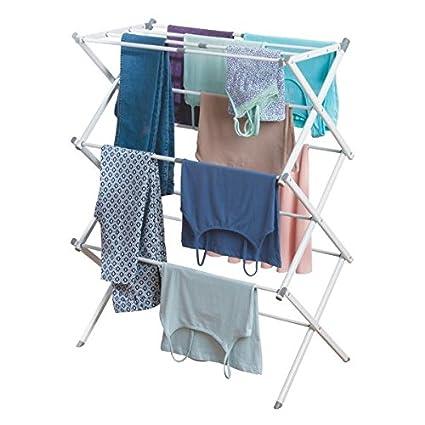Colgador de ropa con tres alturas De metal resistente con barras de pl/ástico mDesign Tendedero extensible Blanco Tendedero plegable para la lavander/ía y para salas peque/ñas