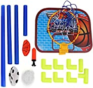 Basketball Backboard and Football Guard, Detachable Basketball and Soccer Sports Goal Sets for Kids Indoor and