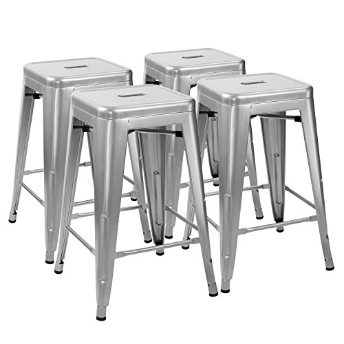 Furmax 24'' metal stools High Backless Silver Metal Indoor-Outdoor Counter Height stackable bar Stools(Set of 4)
