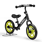ENKEEO 12 inch Balance Bike No Pedal for 2-6 Year Old Kids, Carbon Steel Frame, Adjustable Handlebar, Swat and Stand, 50kg Capacity, Black