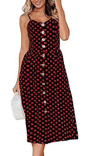 ECHOINE Black Red Polka Dot Contrast Colour Midi Beach Dress Spahetti Strap ()