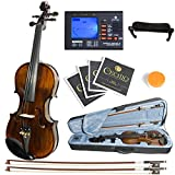 Mendini MV500 Size 4/4 Ebony 1pc-Back Flamed Violin +Tuner+2 Bow