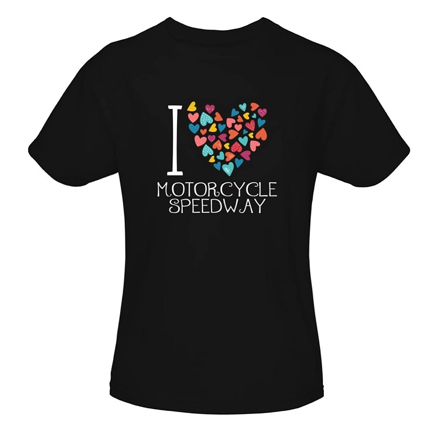 Idakoos I Love Motorcycle Speedway Colorful Hearts - Sports - T-Shirt Fille