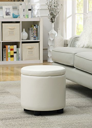 Storage Round Tray Ottoman (Convenience Concepts Designs4Comfort Round Accent Storage Ottoman, White)