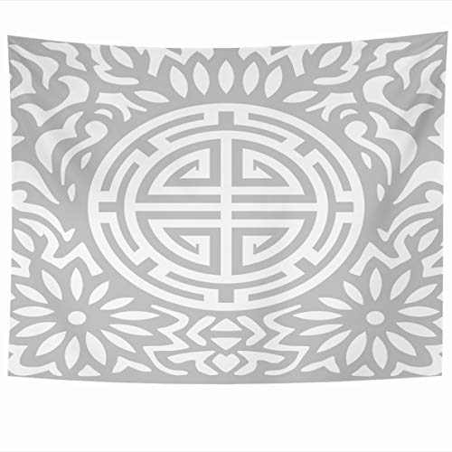 Ahawoso Tapestry 80x60 Inches Available Gray Korean Flower Cop Silver Abstract Ancient Artistic Black Wall Hanging Home Decor Tapestries for Living Room Bedroom Dorm ()