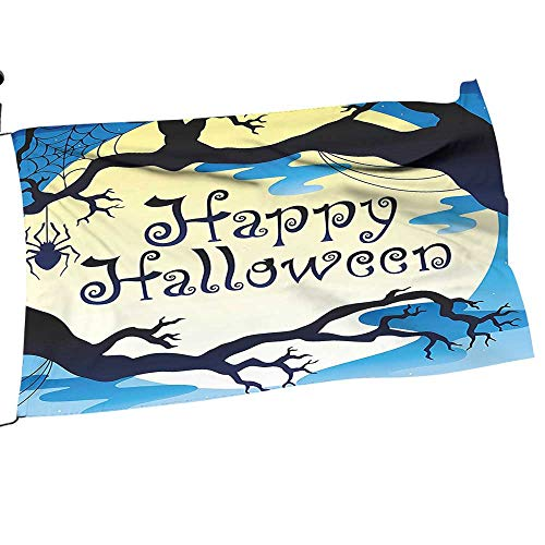 Garden Flag Anti Wind Clip Happy Halloween Quote Spooky Night Branch Shadows Haunted Lights Quality Small Garden Outdoor Decorative22 x 33